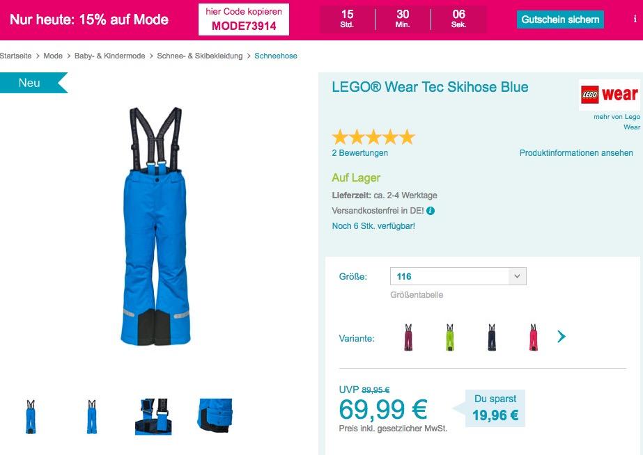 Babymarkt.de - 15% Rabatt auf Mode am 5.11.18: z.B. LEGO® Wear Tec Skihose