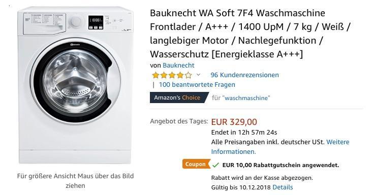 Bauknecht WA Soft 7F4 Waschmaschine,  A+++, 1400 UpM, 7 kg