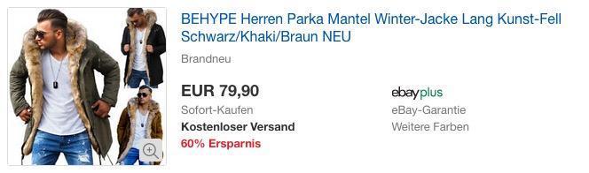 BEHYPE Herren Parka Mantel Winter-Jacke, langes Kunstfell, verschiedene Farben
