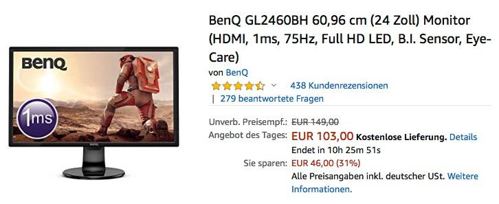 BenQ GL2460BH 60,96 cm (24 Zoll) Monitor ((HDMI, 1ms, 75Hz, Full-HD LED)