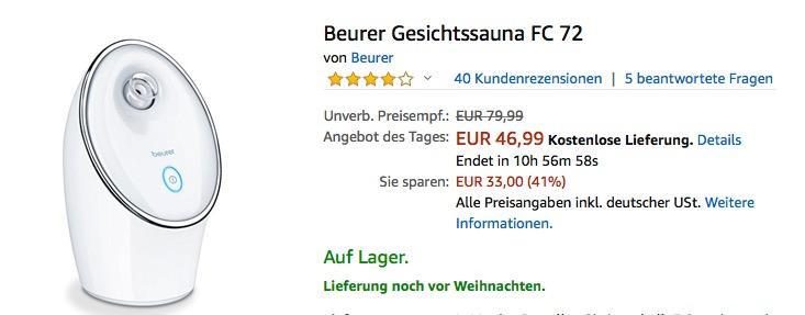Beurer Gesichtssauna FC 72