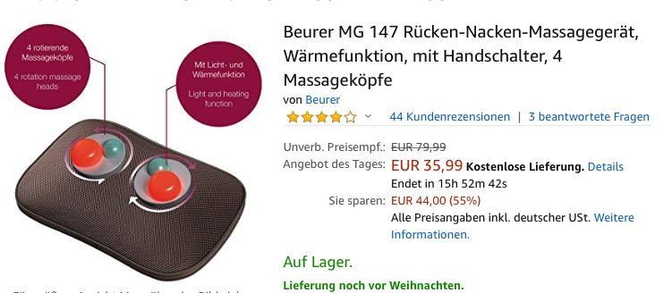 Beurer MG 147 Rücken-Nacken-Massagegerät