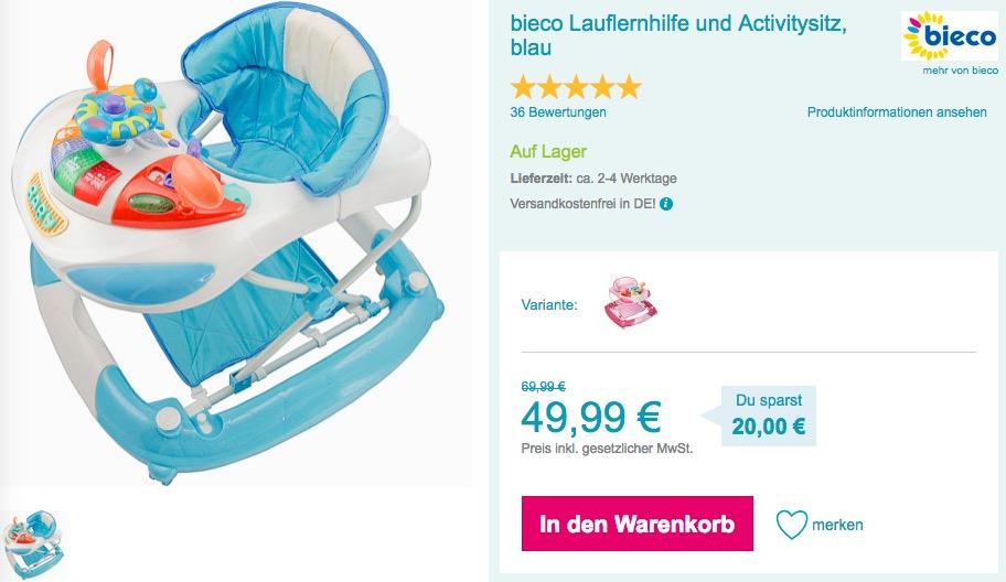 bieco Lauflernhilfe und Activitysitz in Blau oder Rosa/Pink - jetzt 13% billiger