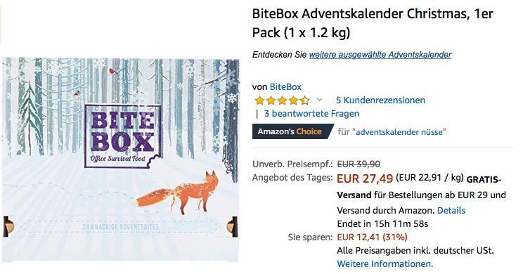 BiteBox Christmas Adventskalender mit 24 hochwertigen Snacks
