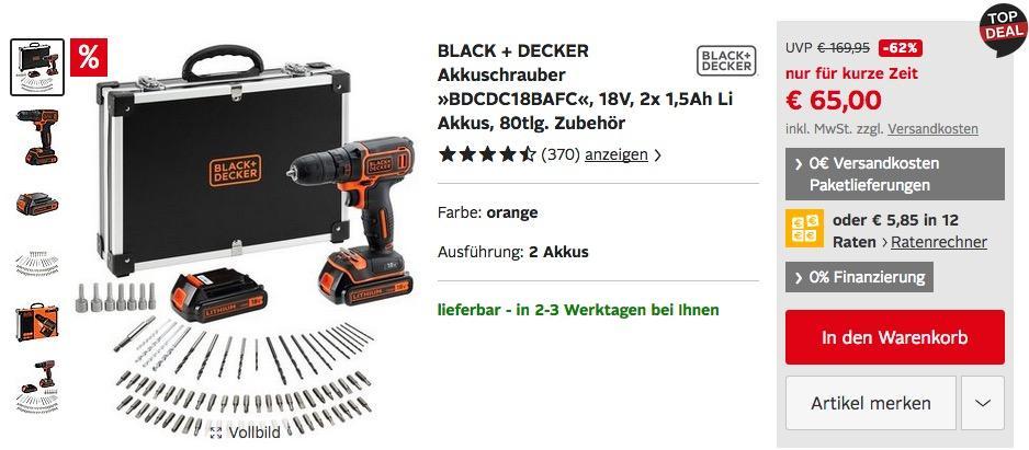 "BLACK + DECKER 18V Akkuschrauber-Set ""BDCDC18BAFC"" mit 2x 1,5Ah Li Akkus, 80tlg. Zubehör"