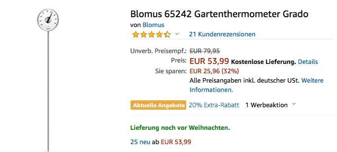 Blomus 65242 Gartenthermometer Grado