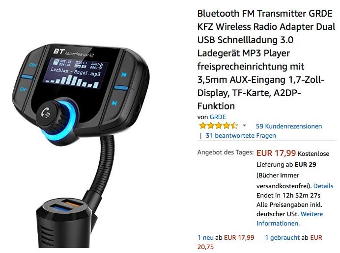 Bluetooth FM Transmitter GRDE BT70  mit Ladegerät, MP3 Player und Freisprecheinrichtung