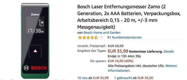 Bosch Laser Entfernungsmesser Zamo (2 Generation, Arbeitsbereich 0,15 - 20 m, +/-3 mm Messgenauigkeit)