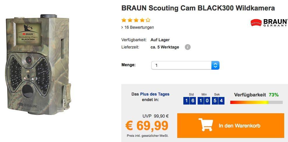 BRAUN Scouting Cam BLACK300 Wildkamera für Tag- und Nachtaufnahmen