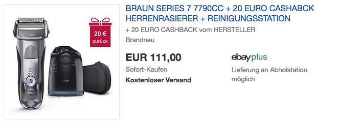 Braun Series 7 7790cc Herrenrasierer + 20€ Cashback