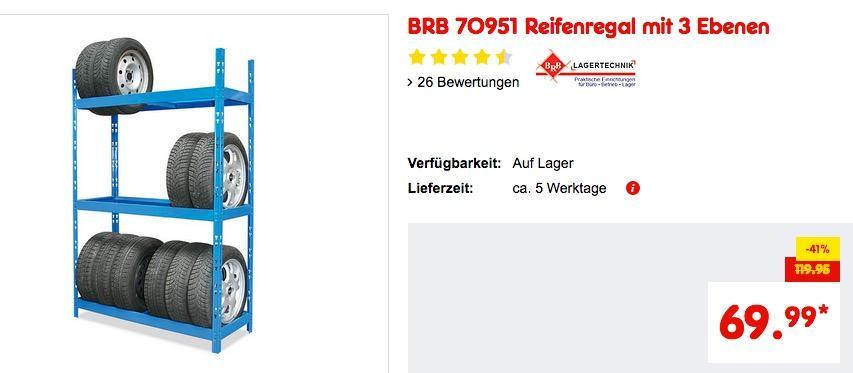 BRB 70951 Reifenregal mit 3 Ebenen
