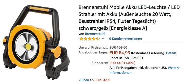Brennenstuhl Mobile Akku LED-Leuchte/Strahler 20 Watt