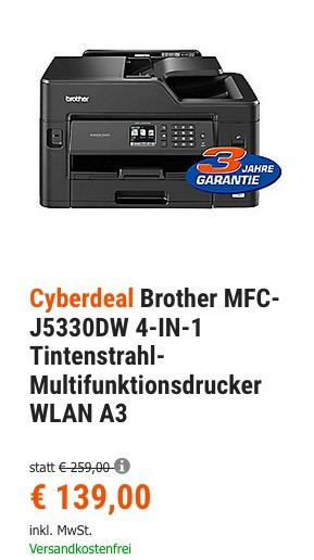 Brother MFC-J5330DW 4-IN-1 A3 Tintenstrahl-Multifunktionsdrucker