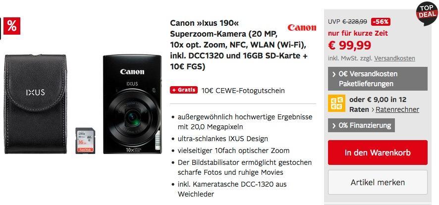 Canon IXUS 190 Digitalkamera inkl. Kameratasche DCC1320 und 16GB SD-Karte + 10€ FGS