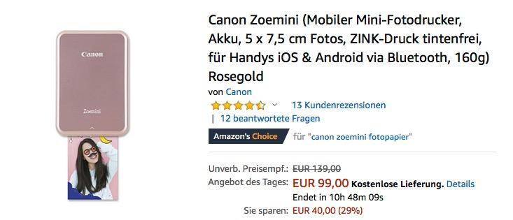 Canon Zoemini Mobiler Mini-Fotodrucker für iOS & Android