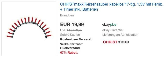 CHRISTmaxx (03511) Kerzenzauber 17-tlg. kabelloses Set mit Fernbedienung