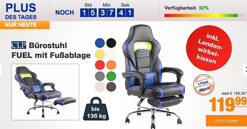 CLP Bürostuhl/Gamingstuhl FUEL mit Fußablage inverschiedenen Farben