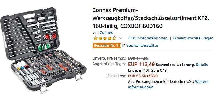 Connex KFZ Premium-Werkzeugkoffer/Steckschlüsselsortiment, 160-teilig