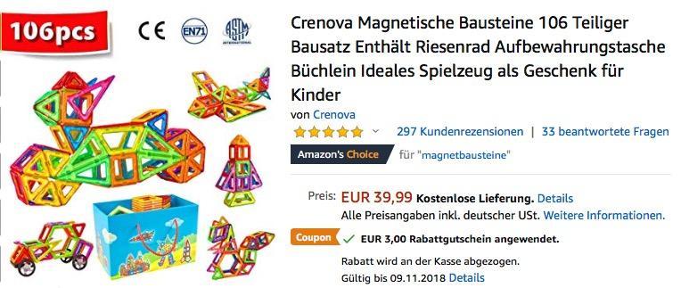 Crenova Magnetische Magnetische Bausteine-Set 106tlg. - jetzt 8% billiger