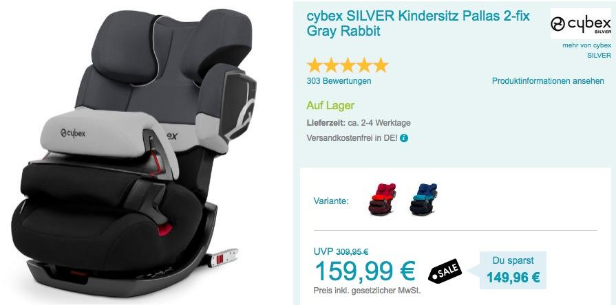 cybex SILVER Kindersitz Pallas 2-fix Gray Rabbit
