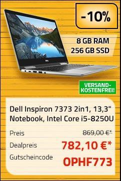 "Dell Inspiron 7373 2in1 Notebook (13,3"") 33,8 cm Intel Core i5-8250U, 8GB RAM, 256GB SSD, Full HD Touch, Win10 Home"