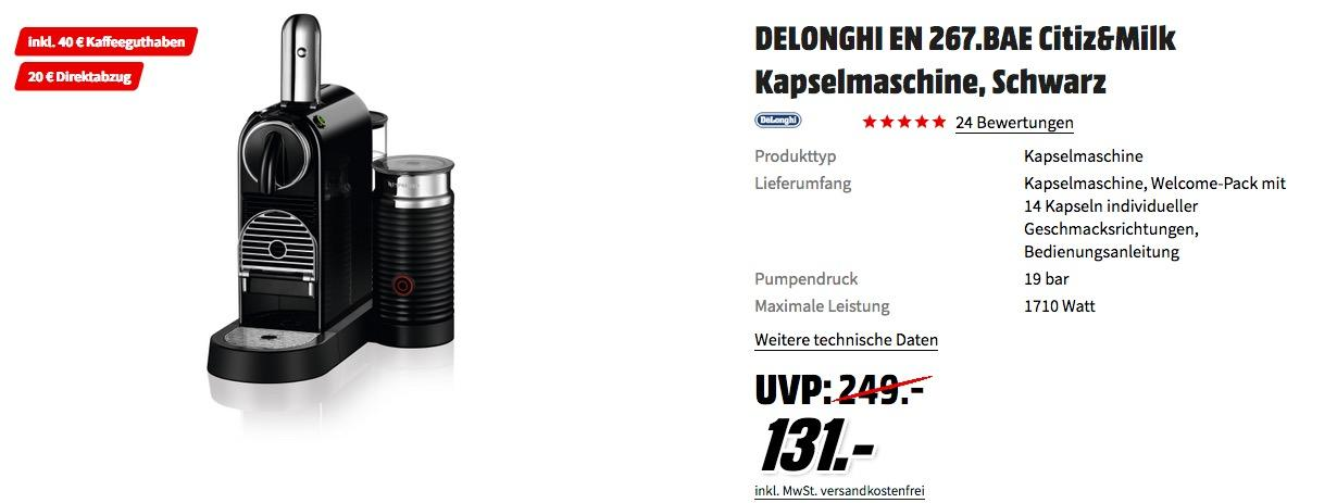 DELONGHI EN 267.BAE Citiz&Milk Kapselmaschine inkl. 40€ Kaffeeguthaben