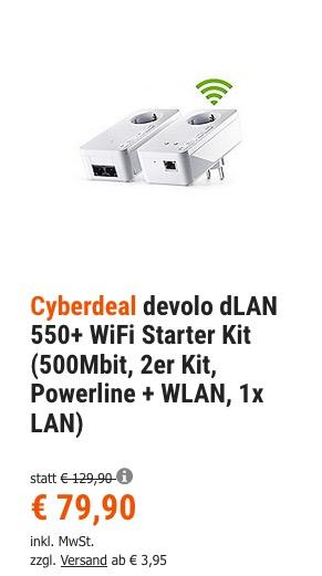 devolo dLAN 550+ WiFi Starter Kit (500Mbit, Powerline + WLAN, 1x LAN)