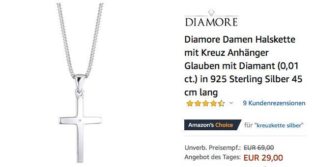 Diamore Damen Halskette mit Kreuz, Diamant (0,01 ct.), 925 Sterling Silber, 45 cm lang