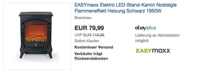 EASYmaxx Nostalgie Elektro-Kamin mit realistischem Flammeneffekt