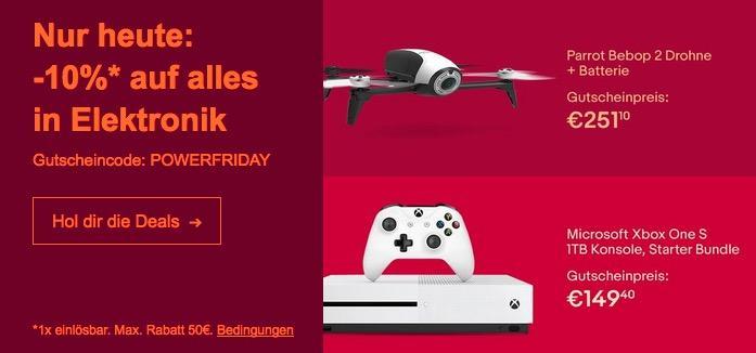eBay 10% Rabat-Aktion auf ausgewählte Technik: z.B. MICROSOFT Xbox One S 1TB Konsole - Fortnite Bundle