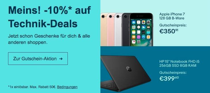Ebay - 10% Rabatt auf ausgewählte Technik: z.B. HP 15-da0403ng Notebook ( i5, 256GB SSD, 8 GB RAM, ohne Windows)