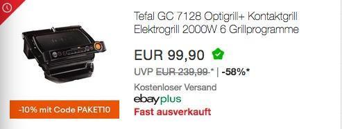 Ebay - 10% Rabatt auf ausgewählte Technik: z.B. Tefal GC 7128 Optigrill+ elektrische Kontaktgrill