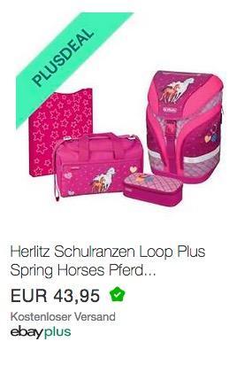 Ebay - 10% Rabatt für Plus-Mitglieder: z.B. Herlitz Schulranzen Loop Plus 4er-Set Spring Horses