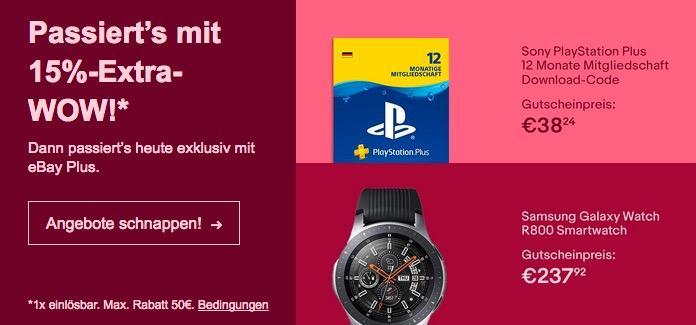 Ebay - 15% Rabatt für Plus-Mitglieder: z.B. Samsung Galaxy Watch R800 Smartwatch 46mm