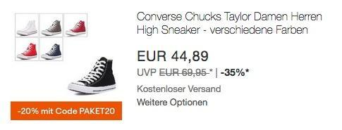 Ebay - 20% Rabatt auf ausgewählte Artikel: z.B. Converse Chuck Taylor Sneaker High Top Unisex