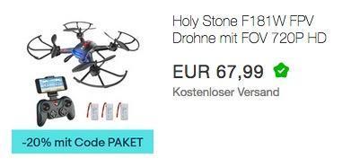 Ebay - 20% Rabatt auf ausgewählte Geschenkideen: z.B. Holy Stone F181W FPV Drohne mit FOV 720P inkl. 3 Akkus