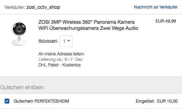 Ebay - 20% Rabatt auf ausgewählte Sicherheitstechnik: z.B. ZOSI 3MP Ultra HD Wireless 360° Panorama Kamera