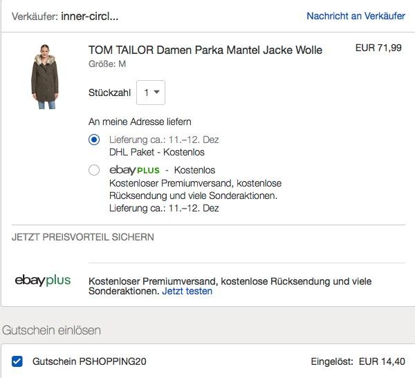 Ebay - 20% Rabatt auf ausgewählte Artikel bis zum 16.12.18: TOM TAILOR Damen Parka smokey olive