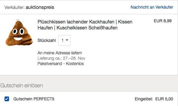 eBay - 5€ Rabattaufausgewählte Artikel unter 20€: z.B. Plüschkissen lachender Kackhaufen