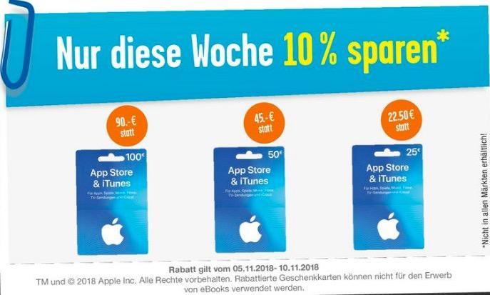 EDEKA: 10 % Rabatt auf iTunes Geschenkkarten (bis 10.11.18)
