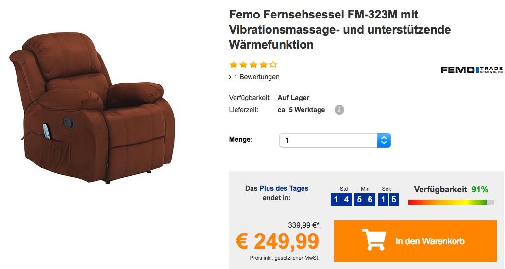 Femo Fernsehsessel FM-323M mit Vibrationsmassage- und unterstützende Wärmefunktion
