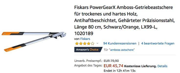 Fiskars LX99-L PowerGearX Amboss-Getriebeastschere für trockenes und hartes Holz