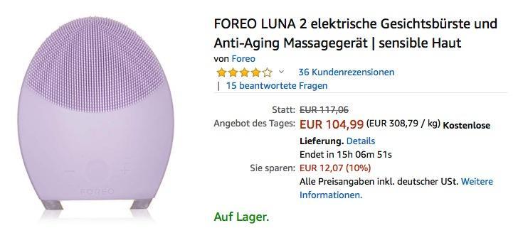 FOREO LUNA 2 elektrische Gesichtsbürste und Anti-Aging Massagegerät für sensible Haut
