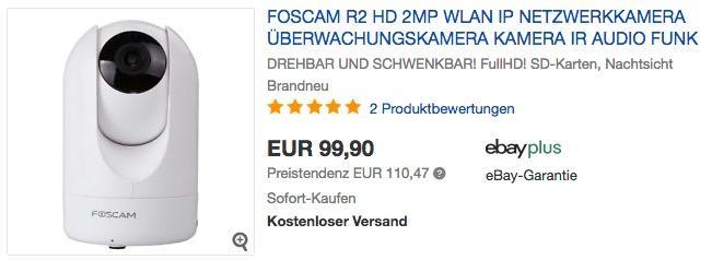 Foscam R2 drehbare und schwenkbare Full-HD IP WLAN Kamera