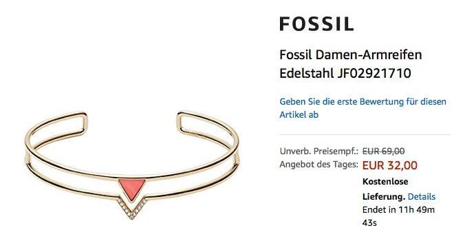 Fossil Damen-Armreifen Edelstahl (JF02921710) Gold/Rot