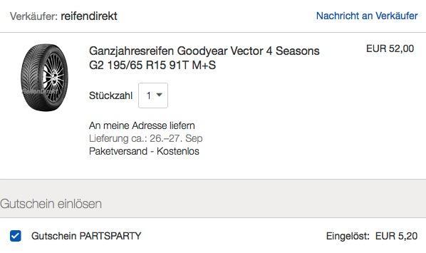 Ganzjahresreifen Goodyear Vector 4 Seasons G2 195/65 R15 91T M+S