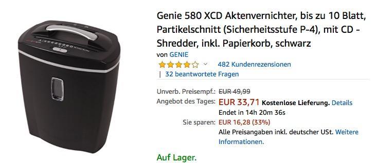 Genie 580 XCD Aktenvernichter
