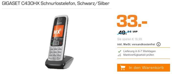 GIGASET C430HX Schnurlostelefon in Schwarz/Silber