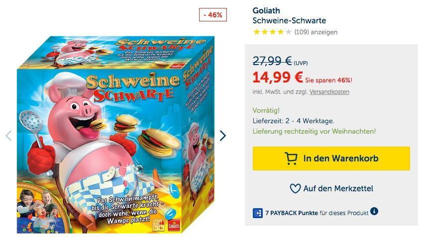 Goliath 30341 Schweine Schwarte Kinder-Gesellschaftsspiel - jetzt 31% billiger