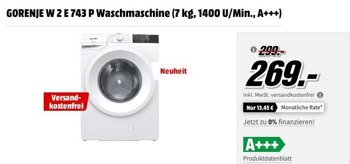 GORENJE W 2 E 743 P Waschmaschine (7 kg, 1400 U/Min., A+++)